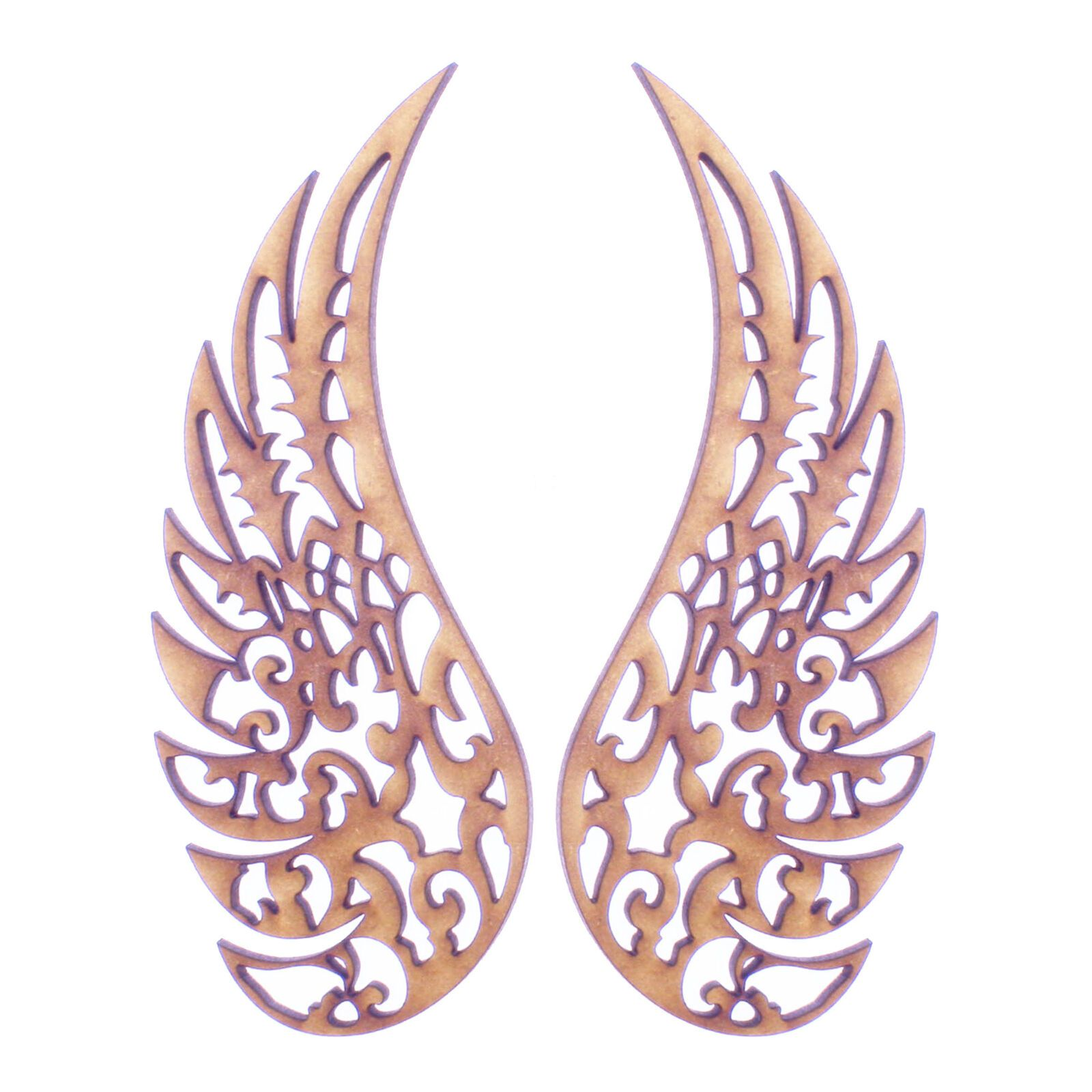 3mm MDF Wooden Laser Cut Shapes Various Sizes Decorative Angel Wings