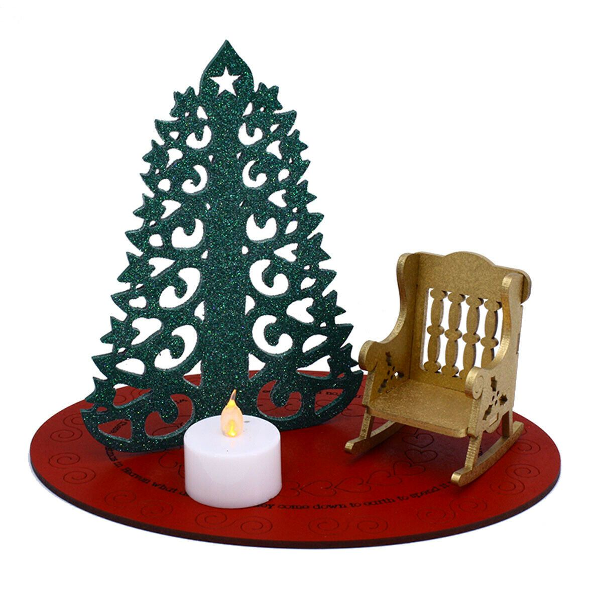 Remarkable Christmas In Heaven Memorial Rocking Chair With Led Tea Light Candle Machost Co Dining Chair Design Ideas Machostcouk