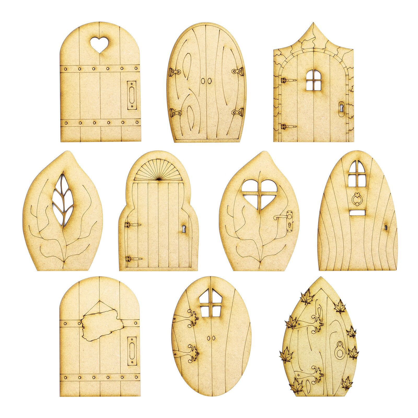 10 Pack Plywood Wooden Craft Shape Blank Fairy
